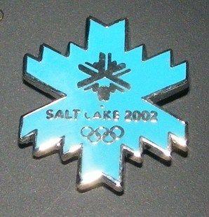 winter olympics blue snowflake logo pin lapel pin badge usa slc winter