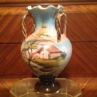 Vase Hand Pained Scenery Wih Gold Guilding And High Gloss Glaze Made