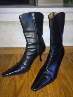 Chic Donald Pliner Black High Heel Boots Size US 8B Made in Italy