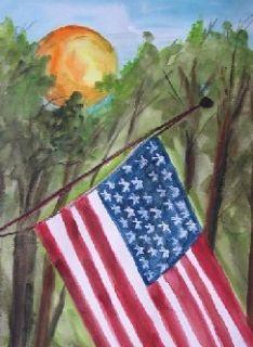 American Flag Landscape USA Original Watercolor Painting JMW Art John