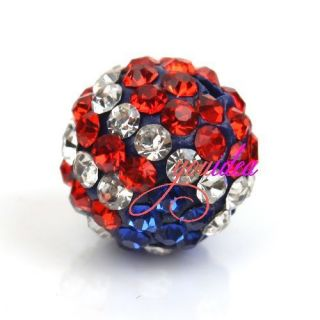 5pcs Crystal Rhinestone Disco Ball Bead Fit Bracelet Earrings USA FLAG