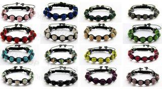 Macrame European Bracelet 9x10mm Disco Ball Charms Crystal Clay Color