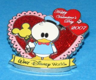 WDW Disney 07 Valentines Day Donald Duck Pin Heart Box