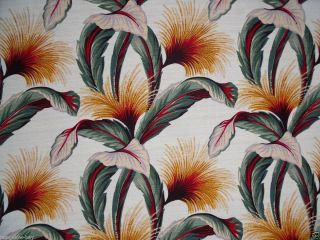 Tropical Barkcloth Upholstery Fabric Retro Pattern Discontinued