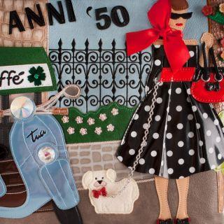 Borsa Donna A Mano Braccialini Tua Cartoline Anni 50 Nuova Collezione