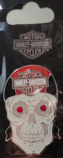 Harley Davidson Motorcycles Bandana Skull Pin Red Jewel Eyes New w
