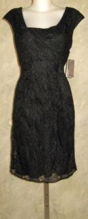 Donna Morgan Black Lace Side Drape Dress Sz 12 $129