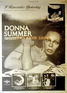 DONNA SUMMER ALBUM I FEEL LOVE POSTER SIZE AD 1977 ADVERT