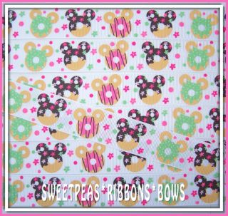 100 YD 7/8 Miss Mouse Head Fun Donuts Flowers grosgrain ribbon 4 Bows
