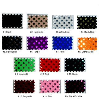 SPANDEX DISCO DOTS FABRIC STRETCH BLACK GOLD BTY
