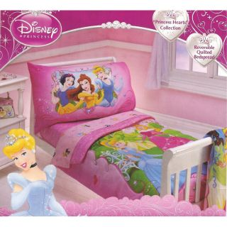 Disney Princess Hearts 4pc Toddler Bedding Set Aurora Belle Cinderella