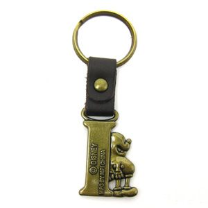 Disney Mickey Mouse Brass Key Ring Key Chain Letter I