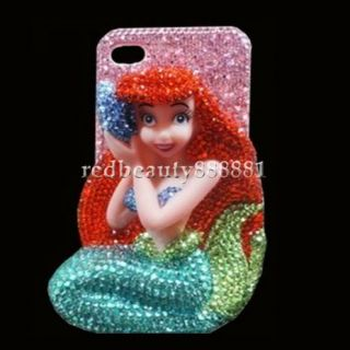 3D Bling Crystal Disney Little Mermaid DIY Cell Phone iPhone Case Deco