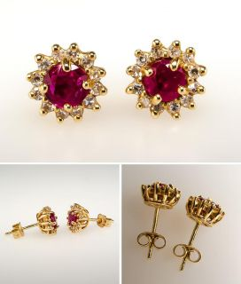 Natural Ruby & Diamond Halo Stud Earrings Solid 14K Gold Fine Estate