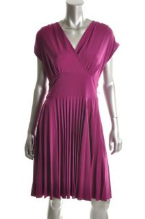 Donna Morgan Purple Matte Jersey V Neck Pleated Sleeveless Casual