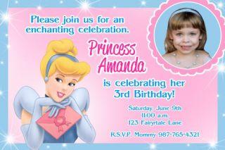 Disney Princess Cinderella Birthday Party Photo Invitation