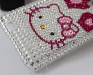 Bling Diamond Kitty Back Hard Case Cover Fr Samsung Epic Touch 4G D710