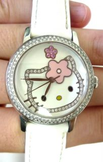 Hello Kitty Diamond Set White Enamel Dial Ladies Watch
