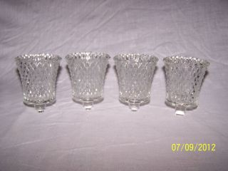 CLEAR DIAMOND POINT CUT GLASS VINTAGE HOME INTERIOR VOTIVE CUP