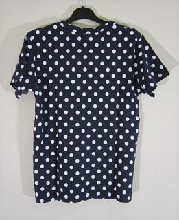 New Comme Des Garcons Play White Polka Dots Dark Blue Shirt Men M L
