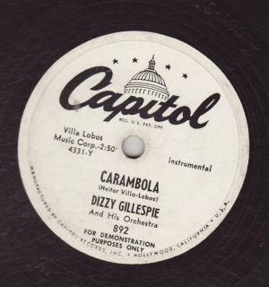Dizzy Gillespie His ORCH Captiol 892 Carambola Honeysuckle Rose