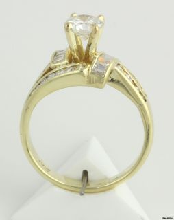 97ctw Genuine VVS2 VS2 Diamond Engagement Ring 14k Yellow Gold Round