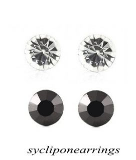 2ps 4 7mm White Black Magnetic Diamont Earring Wo MenS