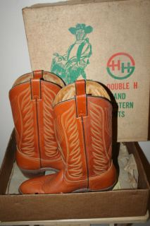 Vintage Double H Genuine Leather Western Cowboy Boots 10D W BOX