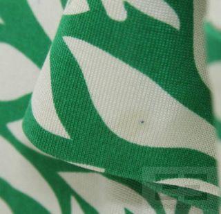 DVF Diane Von Furstenberg Green & White Floral Print Silk Wrap Dress