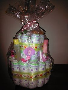Winnie The Pooh Girly Diaper Cake Pink Girl Baby Shower Gift
