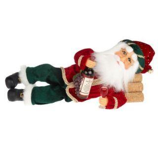 12 Wine Sculpted Santa Figurine by Karen Didion