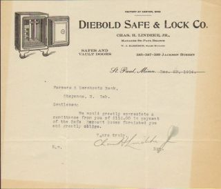 Diebold Safe Lock 1914 St Paul, Mn, Nice Safe,Canton, Oh,Chas Lindeke