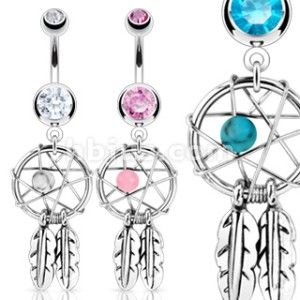 DREAMCATCHER GEM STAR & FEATHERS BELLY NAVEL RING CZ BUTTON PIERCING
