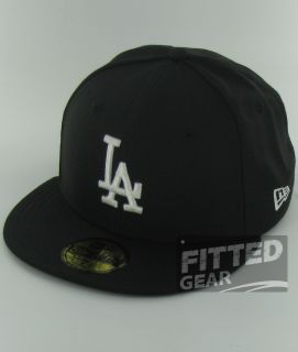 Los Angeles Dodgers Black White Logo New Era Fitted 59FIFTY Cap