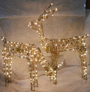 Grapevine Animated Feed Doe & Buck Reindeer Light Up Christmas Yard