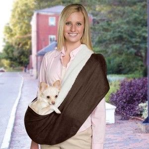 Reversible Sling Pet Dog Cradle Carrier Suede/Sherpa Chocolate
