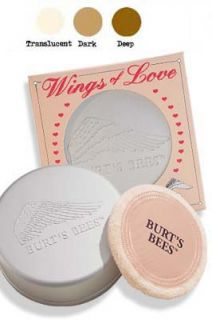 Wings of Love Loose Powder balances skin tone and sets makeup leaving