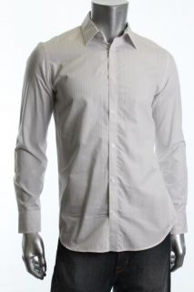 Calvin Klein New Dressy Refined White Long Sleeve Striped Button Down