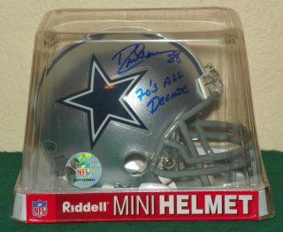 Drew Pearson Auto Tri Star Mini Helmet Dallas Cowboys