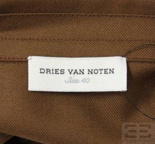Dries Van Noten Brown Wool Long Sleeve Dress Size 40 Current