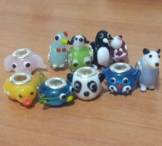 Dog Duck Fish Elephant Panda Chicken Glass Charm Beads Fit European