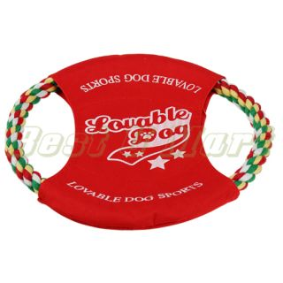 Pet Dog Puppy Training Frisbee Toy Rope Flyer Toy for Dog Red