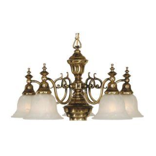 NEW Dolan 5 Light Chandelier Lighting Fixture, Antique Brass, White