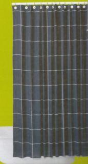 Navy Blue White Check Window Pane Cotton Fabric Shower Curtain New