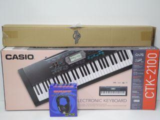 Casio CTK 2100 61 Key Digital Keyboard w Stand Headphones Bundle