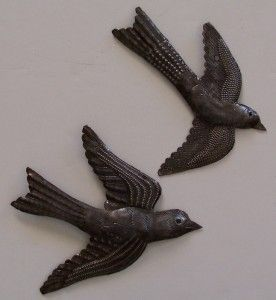 Haitian Recycled Metal Drum Wall Art Set of 2 Small Birds Flying