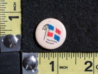 Vintage 1896 Dominican Republic Flag Pinback / Button Label Horace