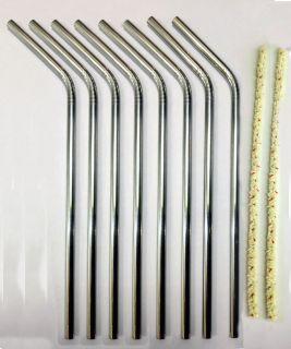 Stainless Steel Drinking Straws 2 Cleaner Brushes USA SELLER