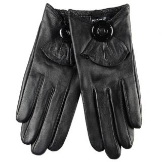 Women Genuine Leather Short Fashion Star T Show Gloves