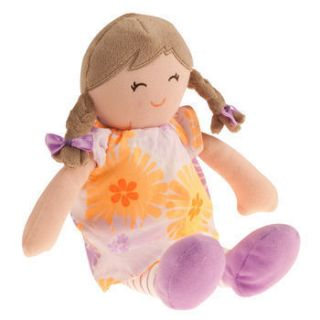 Brunette Pigtails Flower Dress Soft Baby Doll Girl Stuffed Toy